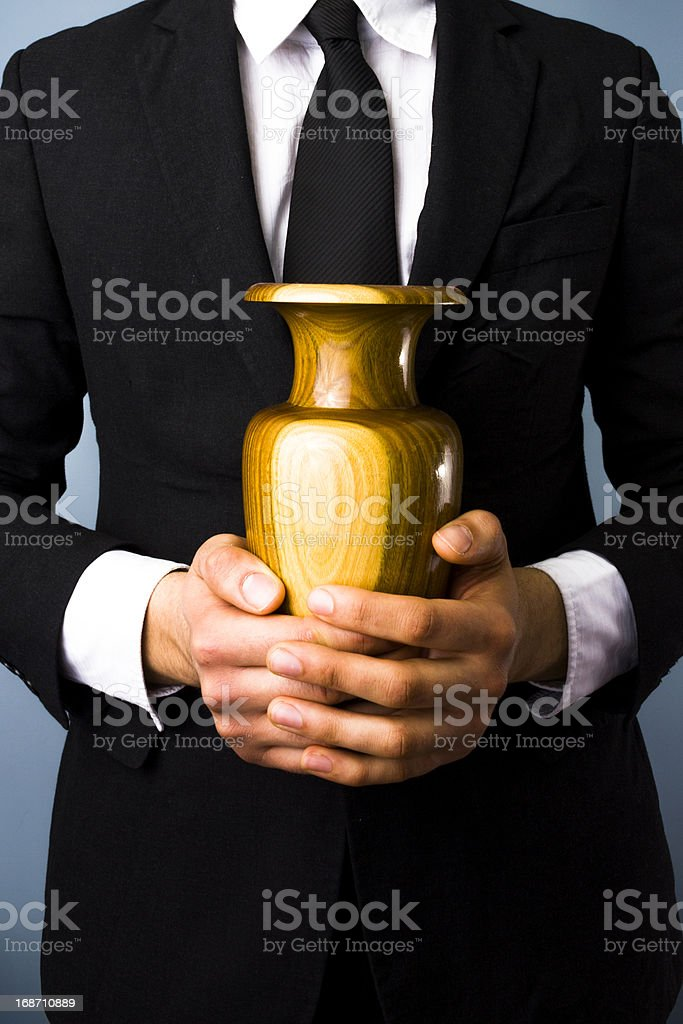 Man with urn stock photo