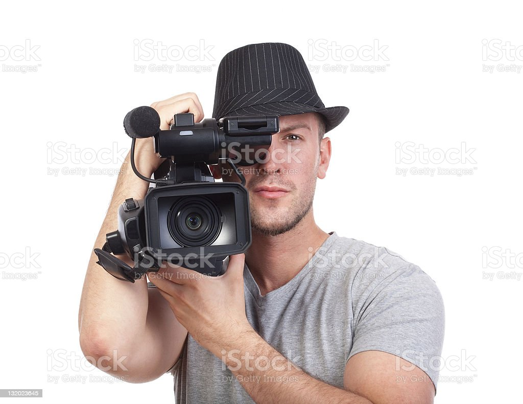 man with video camera stock photo
