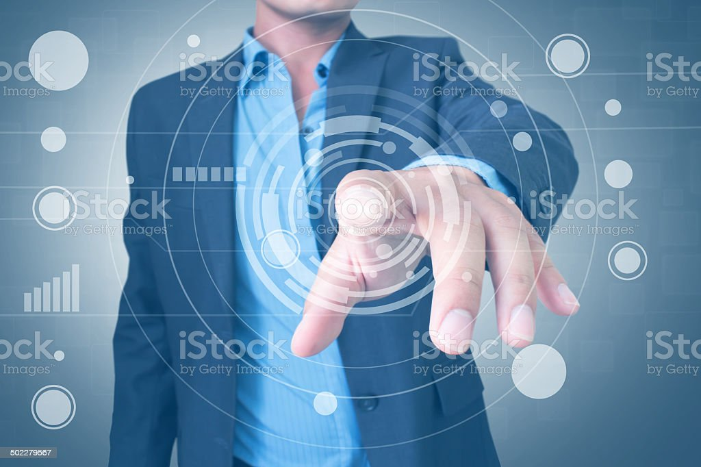 Man With Virtual Screen Interface stock photo