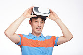 man with VR glasses on head