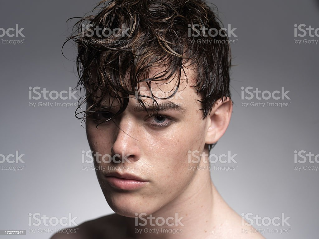 man with wet hair royalty-free stock photo