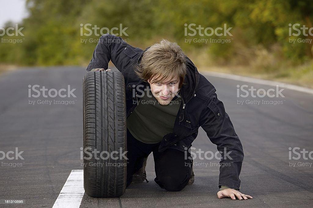 Man With Wheel royalty-free stock photo