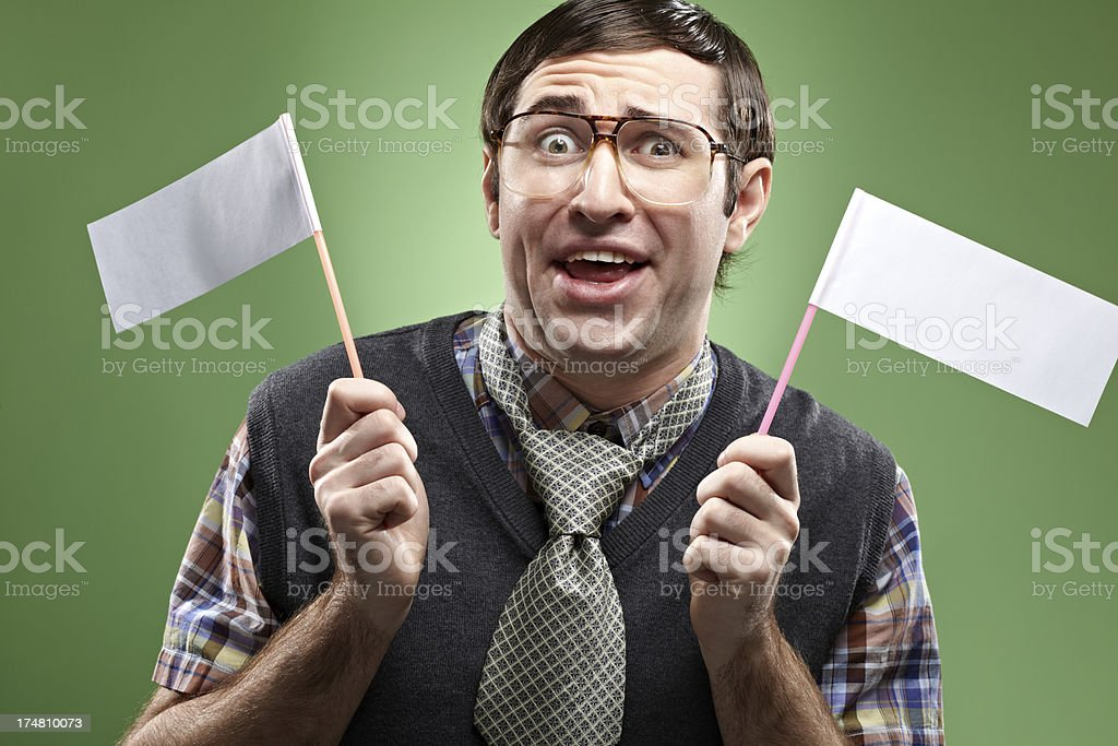 Man with white flags royalty-free stock photo