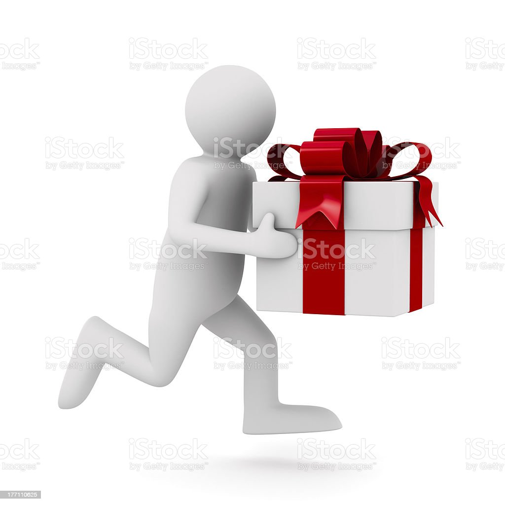 Man with white gift box. Isolated 3D image royalty-free stock photo