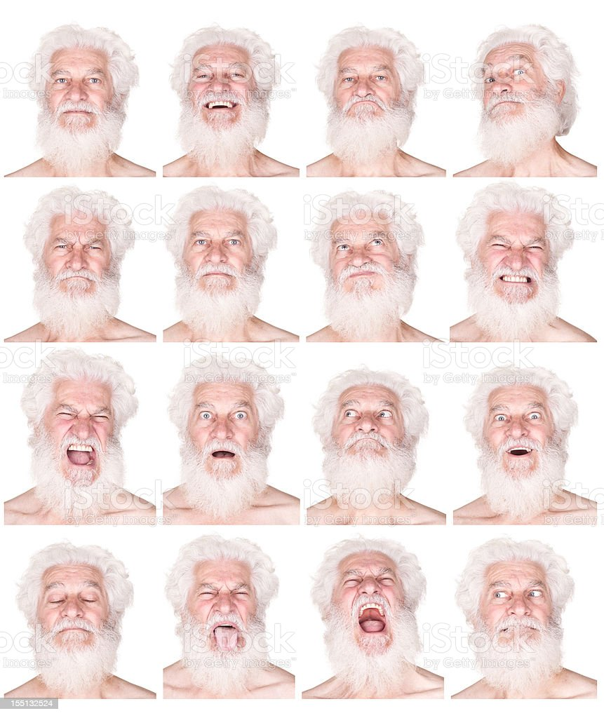 man with white hair beard face expressions set isolated royalty-free stock photo