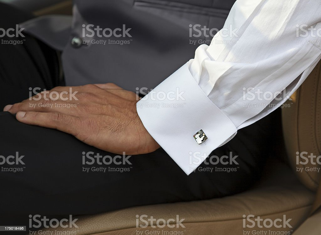 Man with white shirt and cuff link royalty-free stock photo
