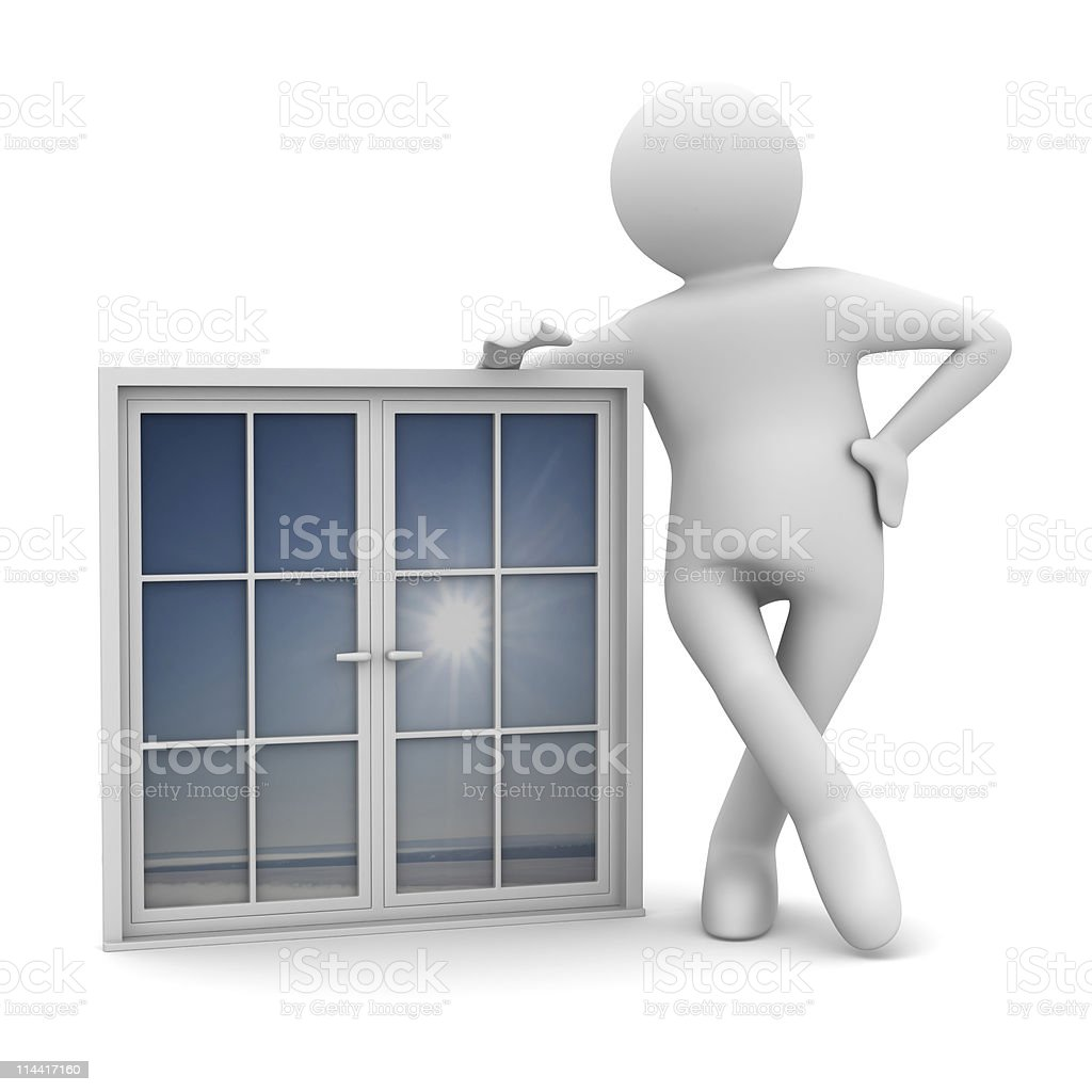 Man with window on white background. Isolated 3D image royalty-free stock photo