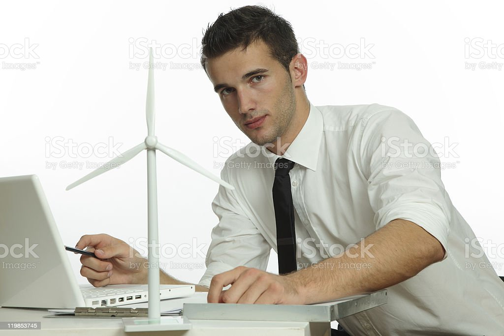man with windturbine in office royalty-free stock photo
