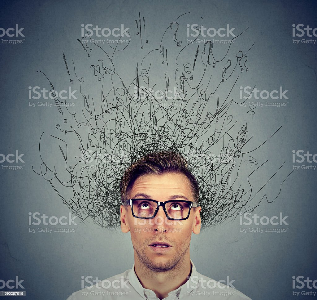 man with worried face expression brain melting into lines stock photo