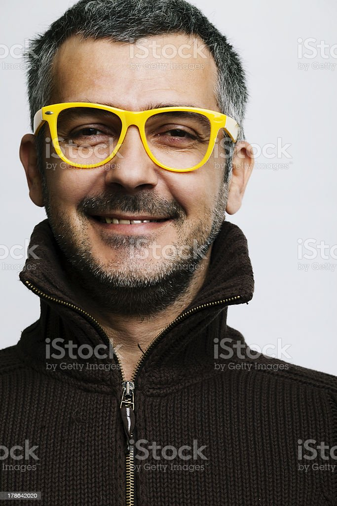 Man with yellow glasses royalty-free stock photo