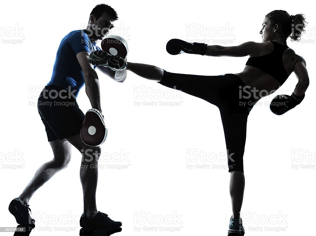 man woman boxing training silhouette stock photo