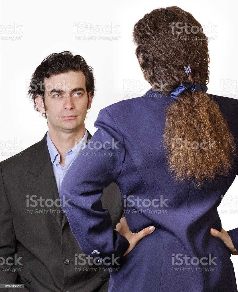 Man woman confrontation stock photo