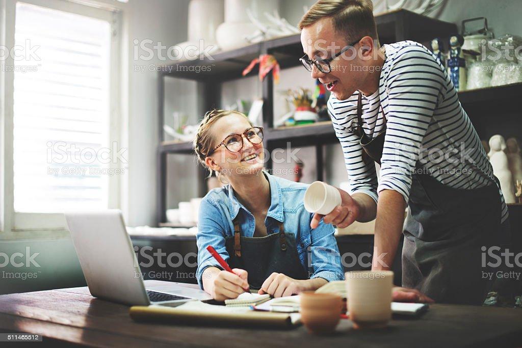 Man Woman Craftsman Talking Ideas Concept stock photo