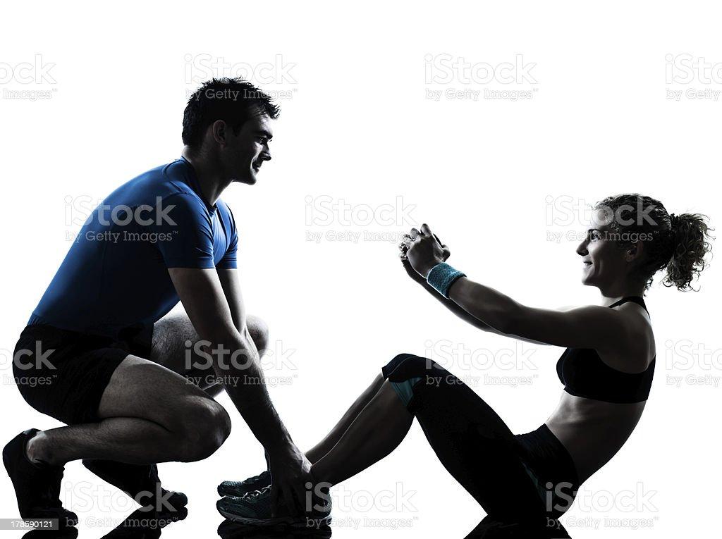man woman exercising abdominal workout fitness stock photo