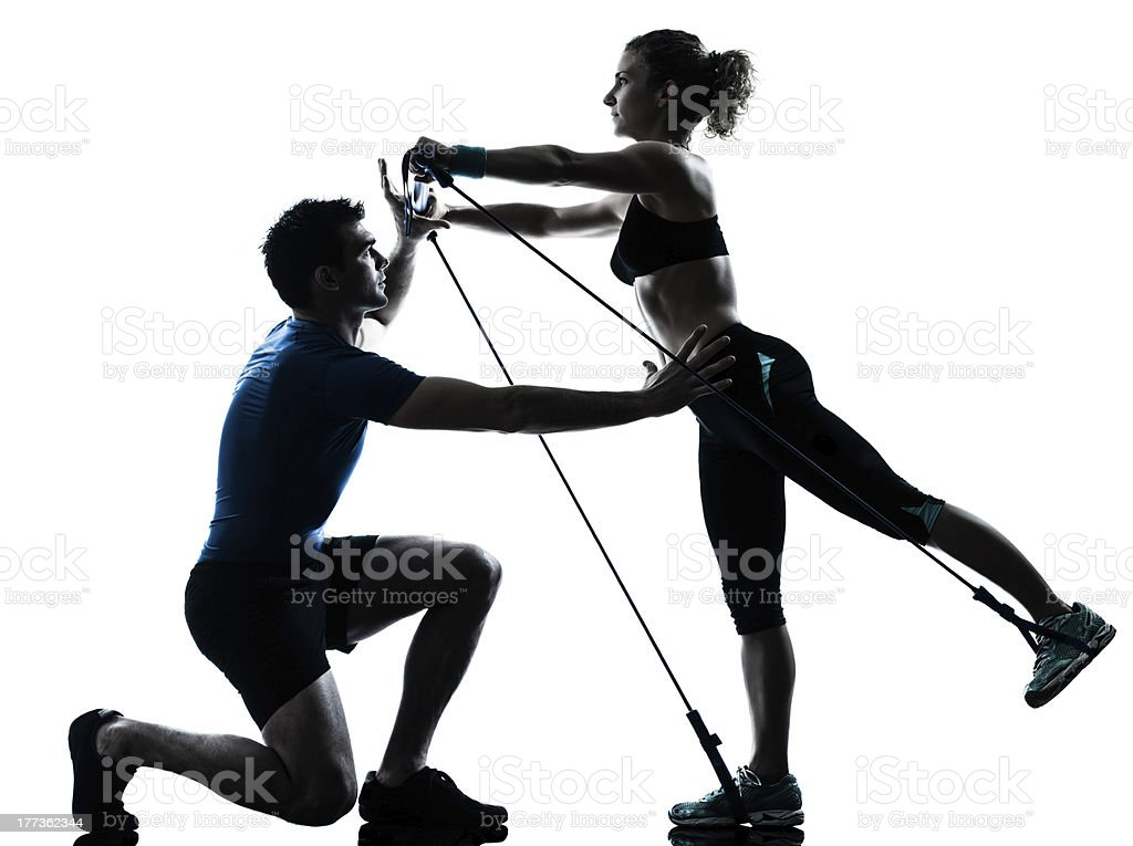 man woman exercising gymstick workout fitness stock photo