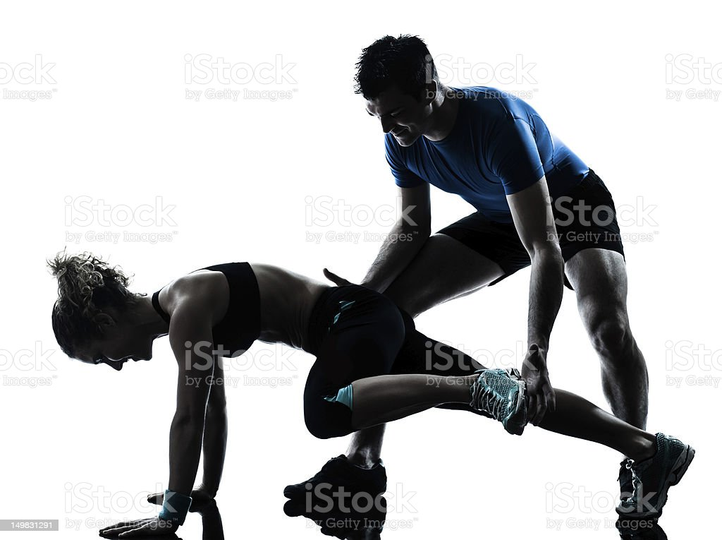 man woman exercising legs workout fitness royalty-free stock photo