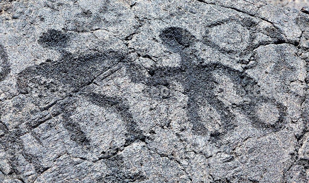 Man Woman Holding Hands, Hawaii Petroglyph royalty-free stock photo