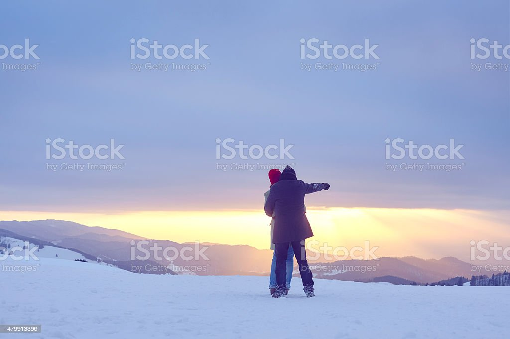 Man Woman Winter Sun afternoon stock photo