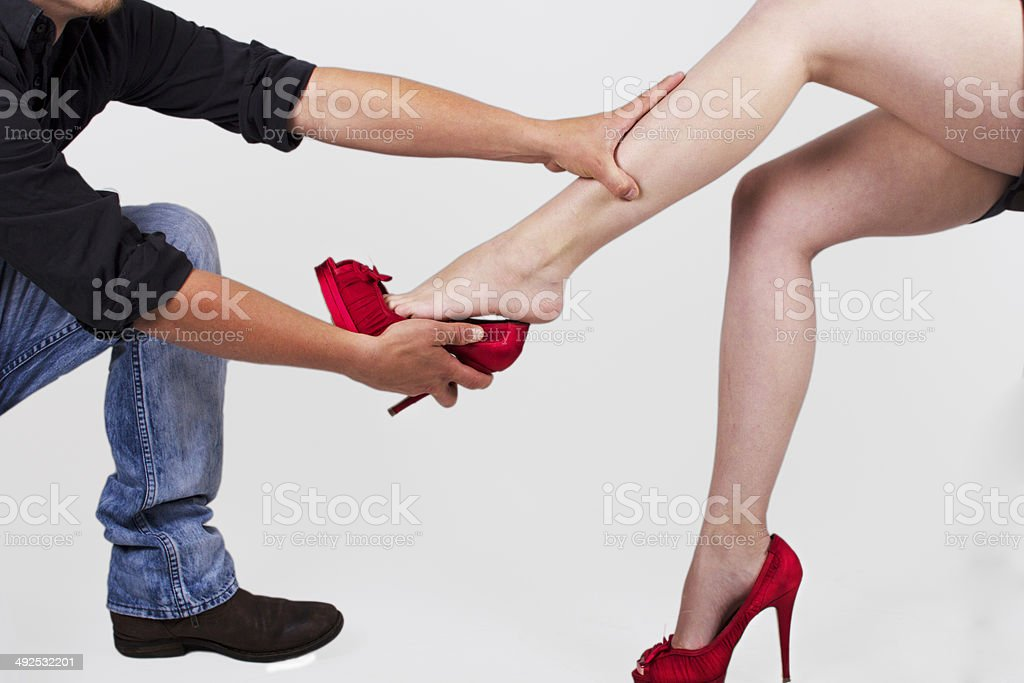 man women with red shoes stock photo