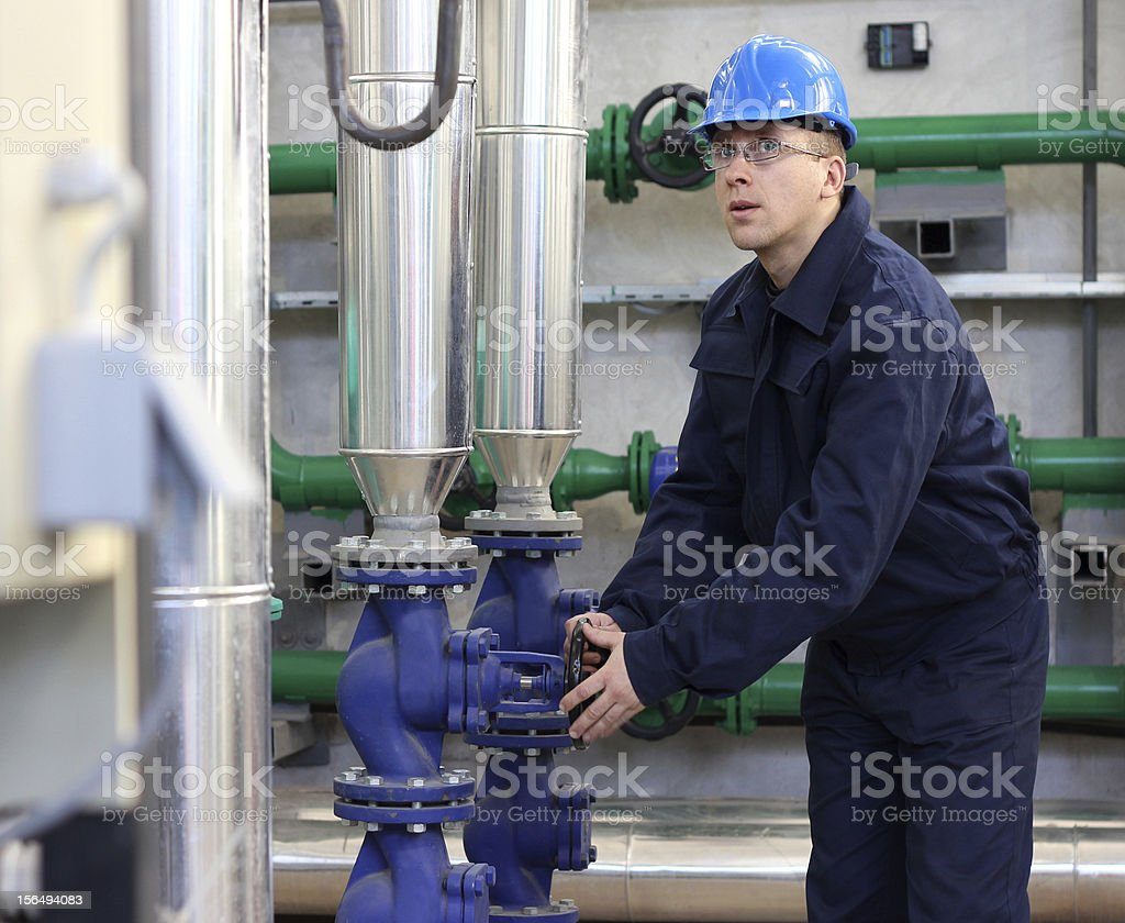 Man work in a Heating Plant royalty-free stock photo