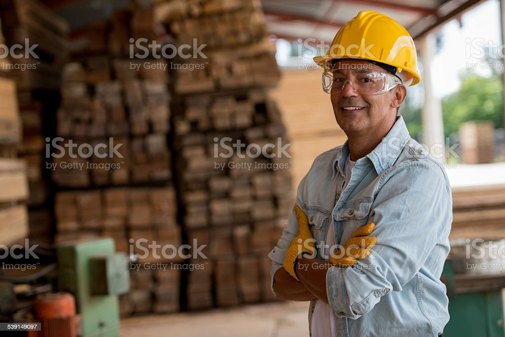 Man working at a carpentry stock photo