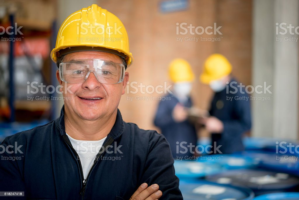 Man working at a chemical plant stock photo
