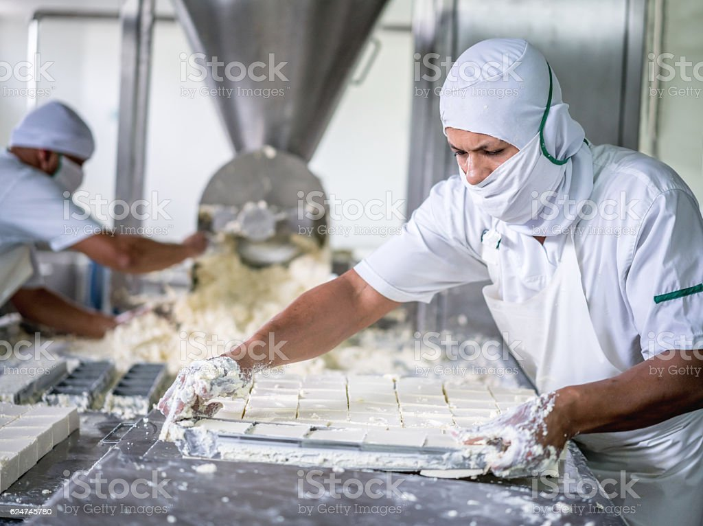 Man working at a dairy factory stock photo