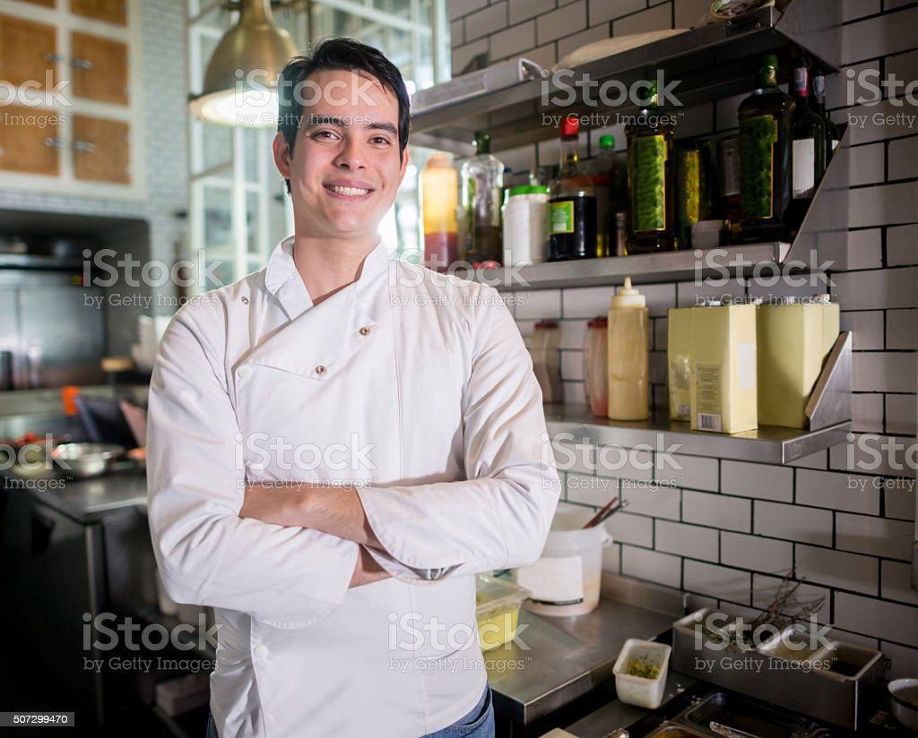 Man working at a restaurant stock photo