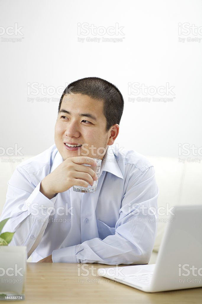 Man working at home royalty-free stock photo