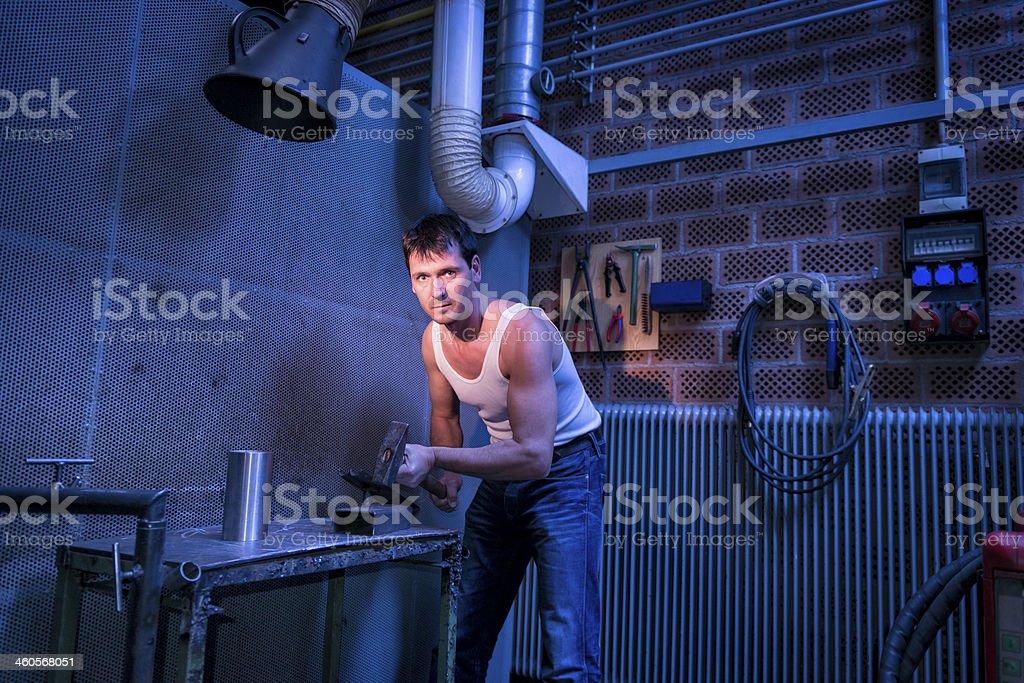 man working at workshop royalty-free stock photo