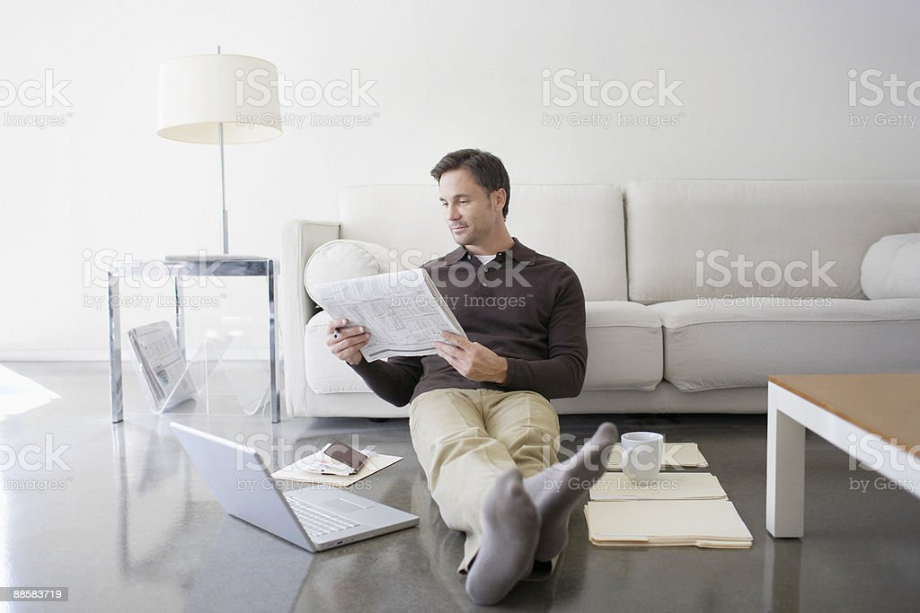 Man working from home stock photo