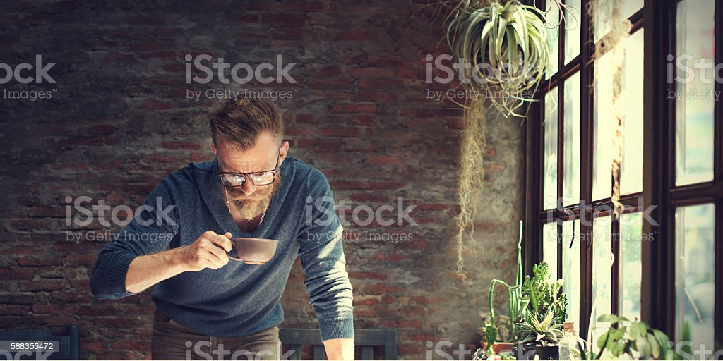 Man Working Home Office Start up Ideas Concept stock photo