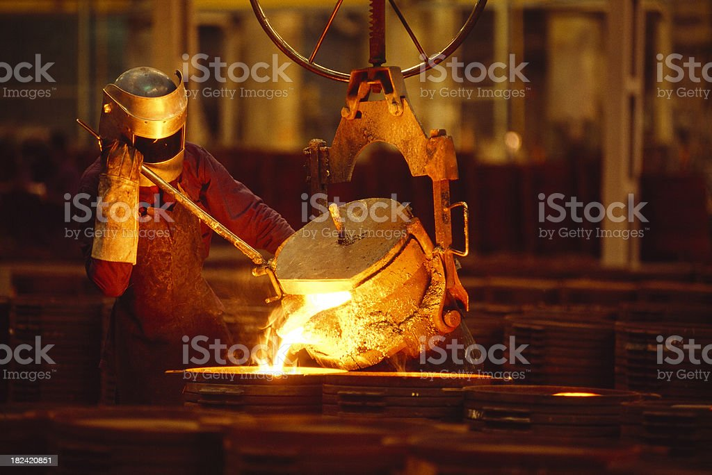 Man Working In a Foundry stock photo