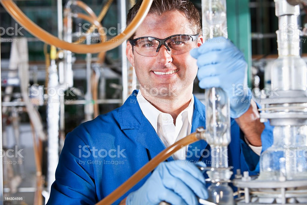 Man working in chemical plant royalty-free stock photo