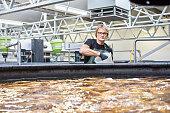 Man working in fish farm