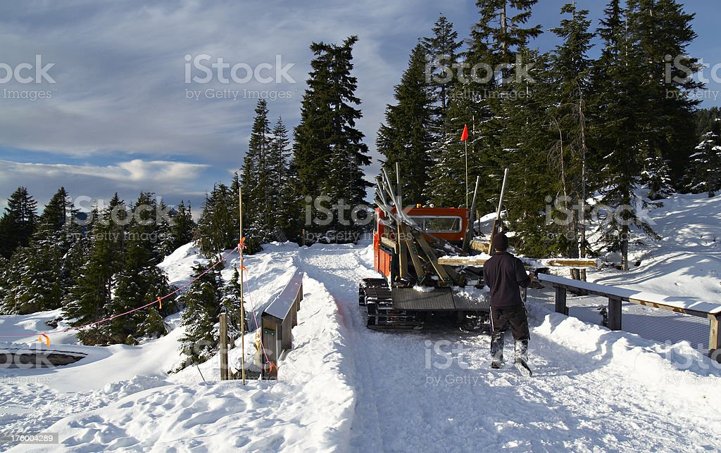 Man Working in Snow royalty-free stock photo