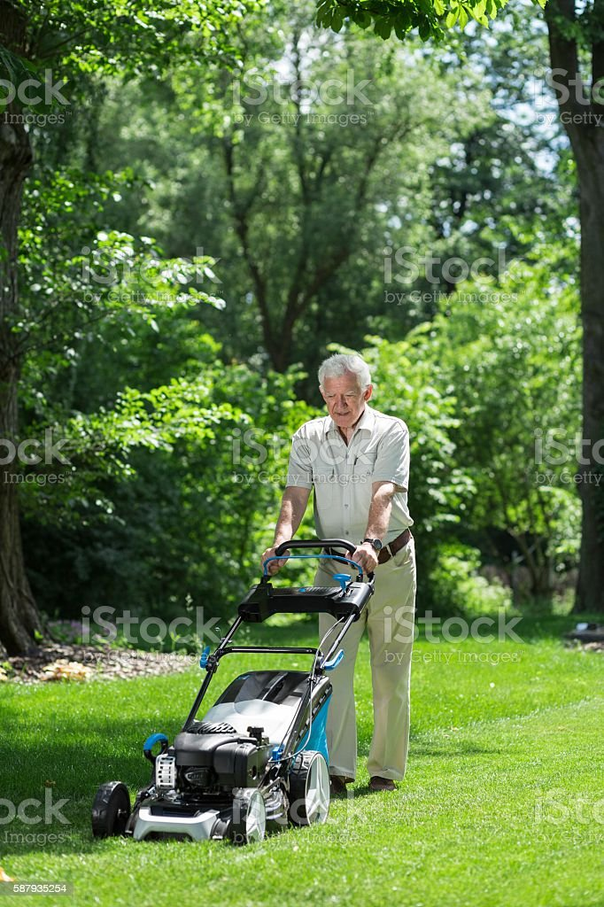 Man working in the garden stock photo