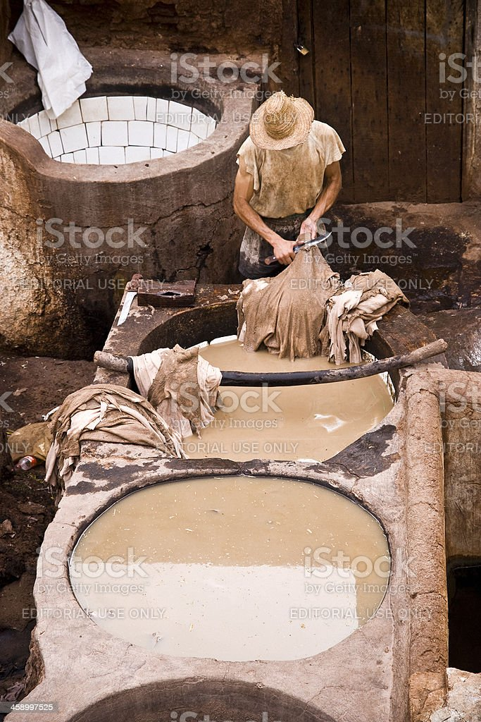 Man working in the Tannery of Fez, Morocco royalty-free stock photo