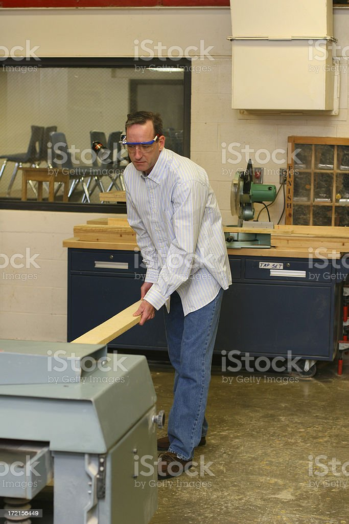 Man Working in Woodshop royalty-free stock photo