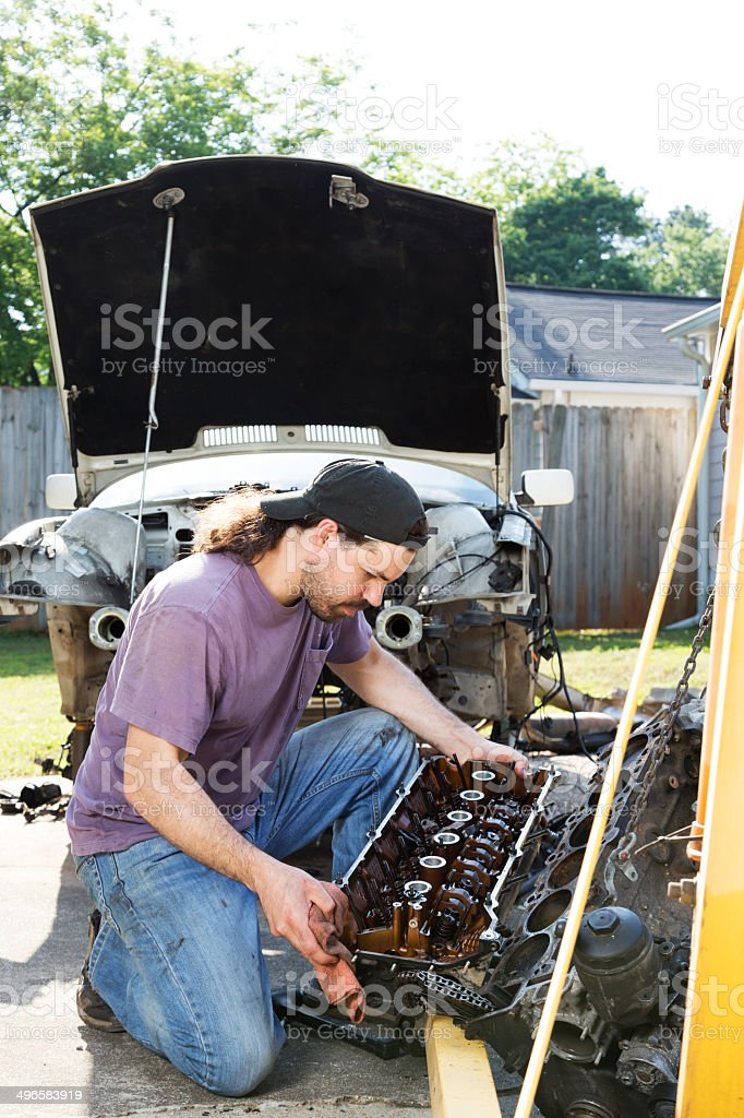 Man Working on a Car stock photo