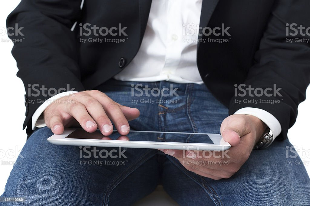 Man working on a tablet pc royalty-free stock photo