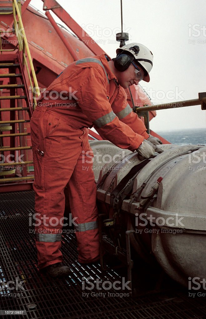 man working on oil rig royalty-free stock photo