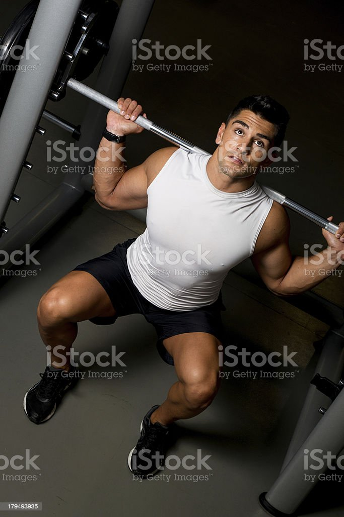 Man working out in a gym royalty-free stock photo