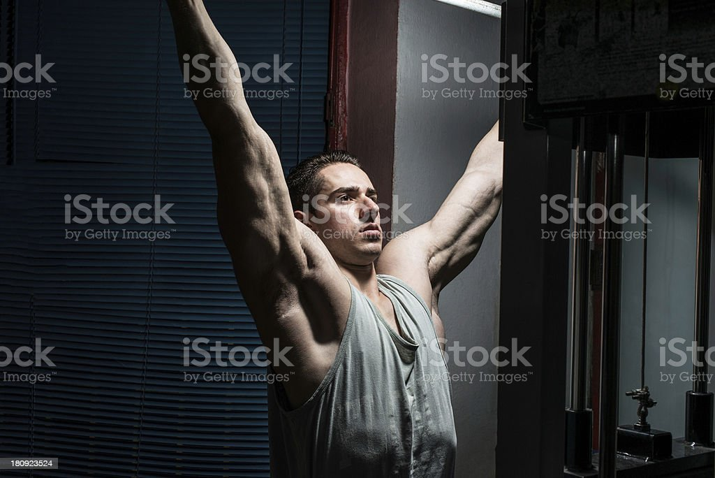 Man working out in gym royalty-free stock photo