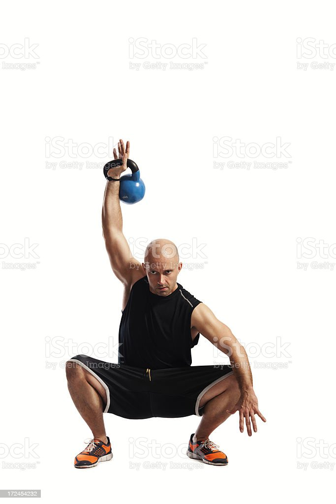 Man working out with kettlebell royalty-free stock photo