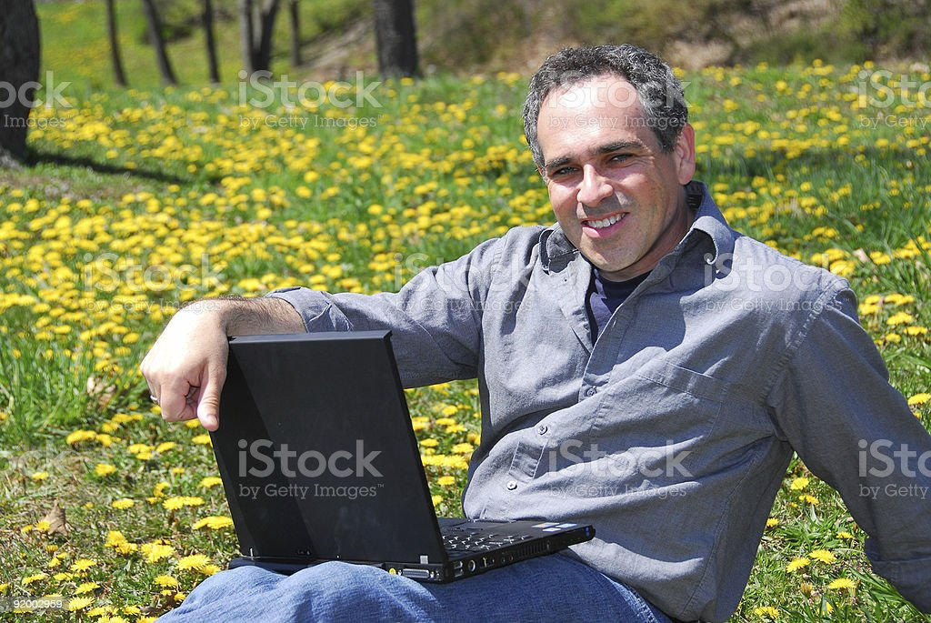 Man working outside royalty-free stock photo