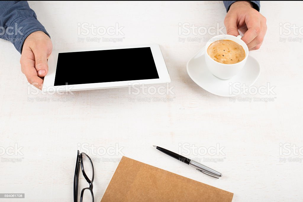 Man working using the tablet stock photo