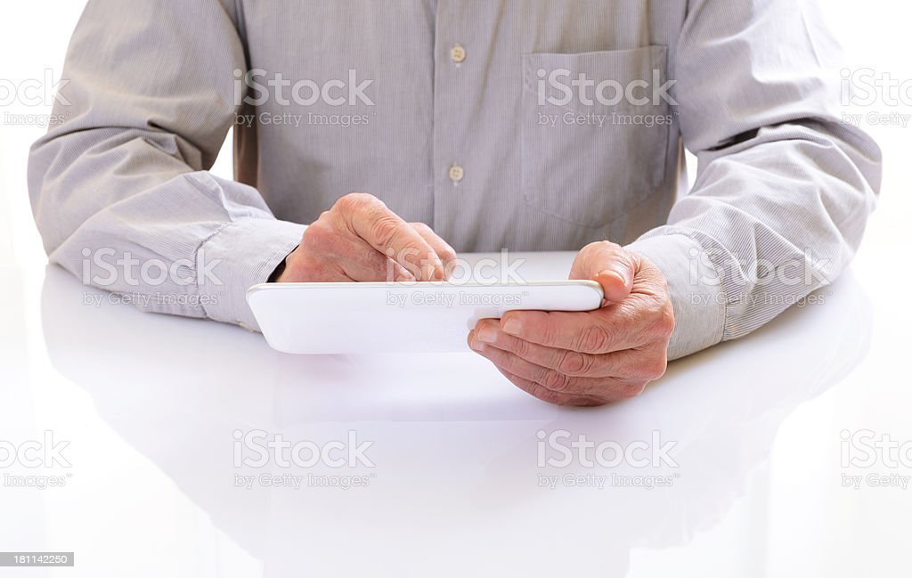 Man Working W Digital Tablet royalty-free stock photo