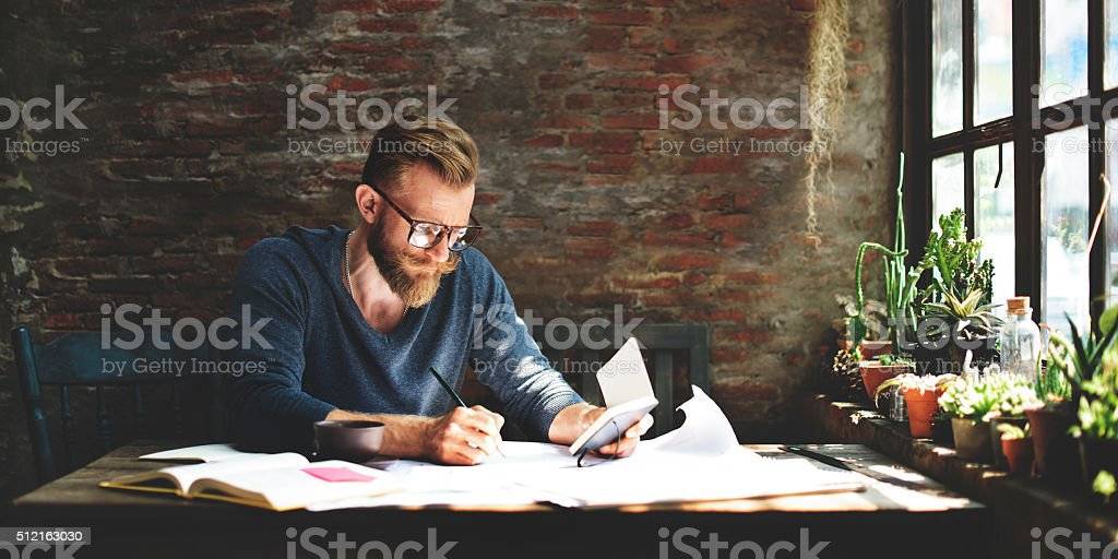 Man Working Workspace Lifestyle Concept stock photo