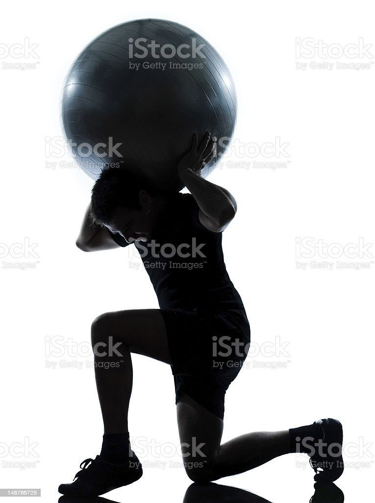 man workout holding fitness ball royalty-free stock photo
